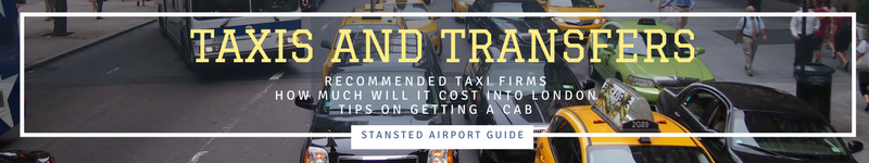 Stansted Airport Guide's Taxis and Transfers header, local taxi companies, how much does it cost and tips