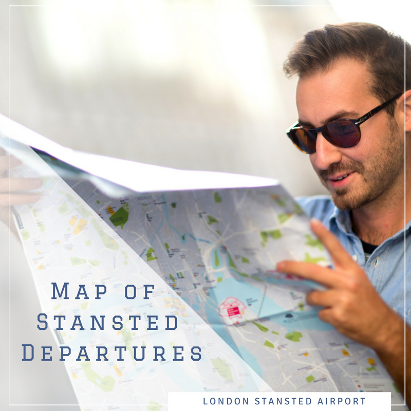Map of Stansted Departures leader, man holding a map
