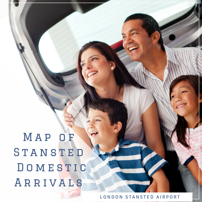 Map of Stansted airport's domestic flight arrivals