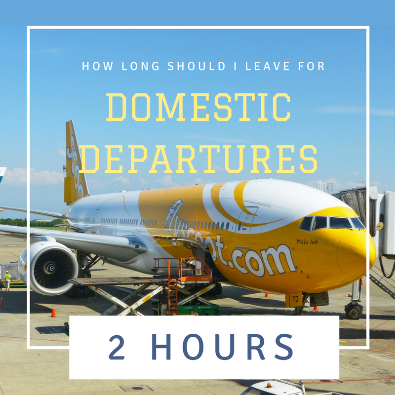 How far in advance should I leave for a domestic departure? 2 hours