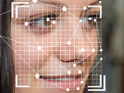 Woman having the facial recognition software at the airport