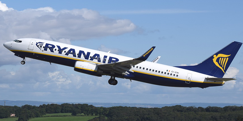 Ryanair flight departing from Stansted Airport to Dublin